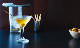 Dry Martini cocktail with olives