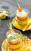 Carrot and passion fruit yoghurts
