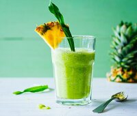 A spring smoothie made with pineapple and wild herbs