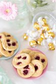 Raspberry and white chocolate cookies