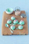 Cake pops in mint green chocolate glaze