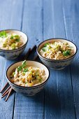 Chicken soup with noodles and sweetcorn
