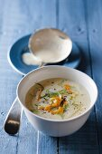 Cream of leek and fennel soup with smoked fish