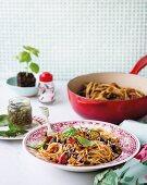 Spaghetti with lentil ratatouille