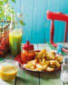 Homemade ketchup and chips