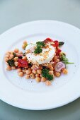Warm chickpea salad with chilli, feta cheese and garlic