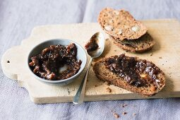 Nut bread with a plum and cranberry spread