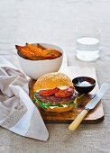 Turkey burgers with roasted tomatoes and rosemary