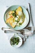 May turnip salad with apples and basil