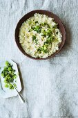 Jerusalem artichoke risotto with vegetarian mountain cheese, Noilly Prat and diced celery