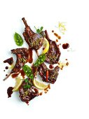 Lamb chops with a spicy plum sauce