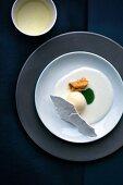 Lemon ice cream with meringue and buttermilk yoghurt