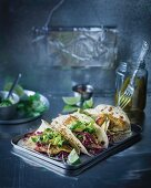 Tacos with grilled angelshark, cabbage and mini guacamole