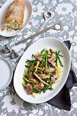 Three-bean lamb salad with almonds