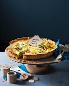 Leek tart with smoked salmon and capers