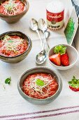 Strawberry gazpacho with bean sprouts