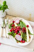 Bean and asparagus salad with redcurrants