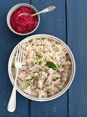 Pork goulash with barley and beetroot salad