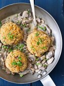 Barley fritters with a mushroom sauce