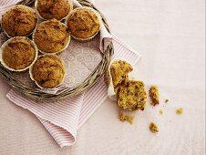 Oat muffins on a wicker tray