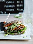 Korean grilled beef sandwich with pajori