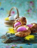 Brioche with coloured Easter eggs