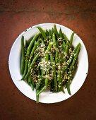 Green beans with pumpkin seeds and sesame seeds