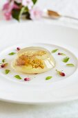 Flower petal jelly on a white plate garnished with buds and leaves