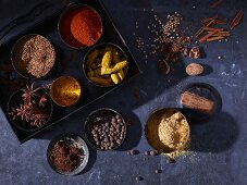 Dried spices in metal tins