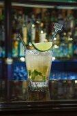 A Caipirinha on a bar