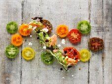 Smoked salmon paté and cucumber salad