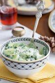 Cucumber salad with yogurt and fresh herbs