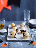 Mini blueberry pies with lemon curd ice-cream and sherbert