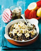 Lentils with marinated feta cheese