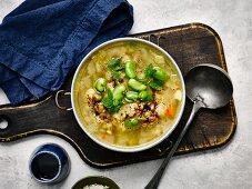 Split pea soup with lentils and pomegranate juice