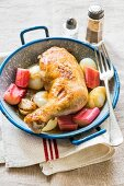 Chicken leg with rhubarb and spring onions