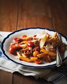 Penne with chorizo and rosemary