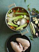 Ingredients for Tom Ka Gai (Thai chicken soup)