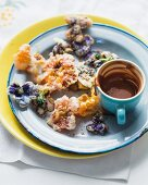Fried flowers with chocolate sauce