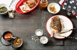 Grilled steak, spices and bread (USA)