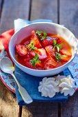 Strawberry soup with lemon balm