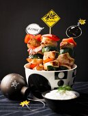 New Year's kebabs with yoghurt sauce