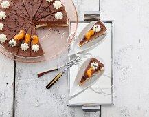 Chocolate and mandarin tart