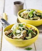 Pasta salad with lentils and cucumber