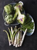 An arrangement of various stalk vegetables