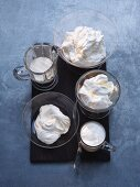 An arrangement of various high-fat dairy products