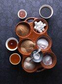 An arrangement of various sweeteners for vegetarians