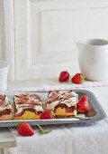 Strawberry Donauwelle (German marble cake)