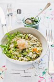 Barley with watercress and scallops