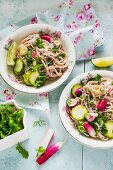 Wholemeal rice noodle salad with summer vegetables